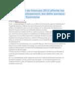 Du Maroc Loi de Finances 2012 Affirme Les Choix d