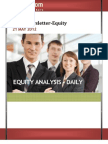 Equity Market Newsletter and Analysis for 21 May