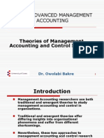 AC 303 Lecture 4 Theories of Management Accounting and Control Systems