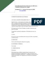 Acta de Sesión Extraordinaria del viernes 25 de mayo de 2001 de la Comisión de Reforma de Códigos