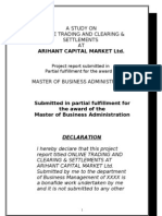 Online Trading and Clearing Settlements at Arihant Capital Market Ltd Mba Project