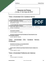Resumen prensa CEU-UCH 21-05-2012
