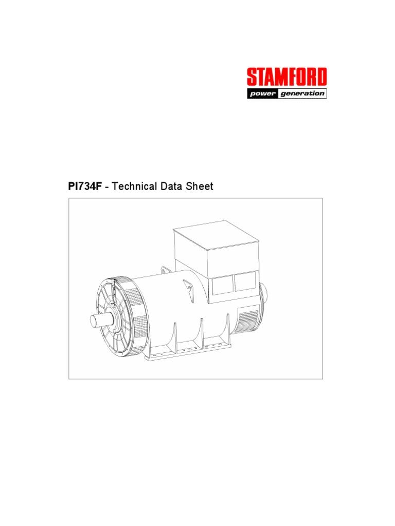 Alternator Data Sheet Pi734f Electrical Components Force Newage Stamford Wiring Diagram