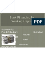 Final Bank Financing for Working Capital