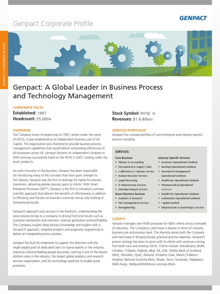 Genpact Factsheet   Business Process   Business Process