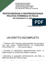 Partecipazione e Rappresentanza Politica Femminile Italia
