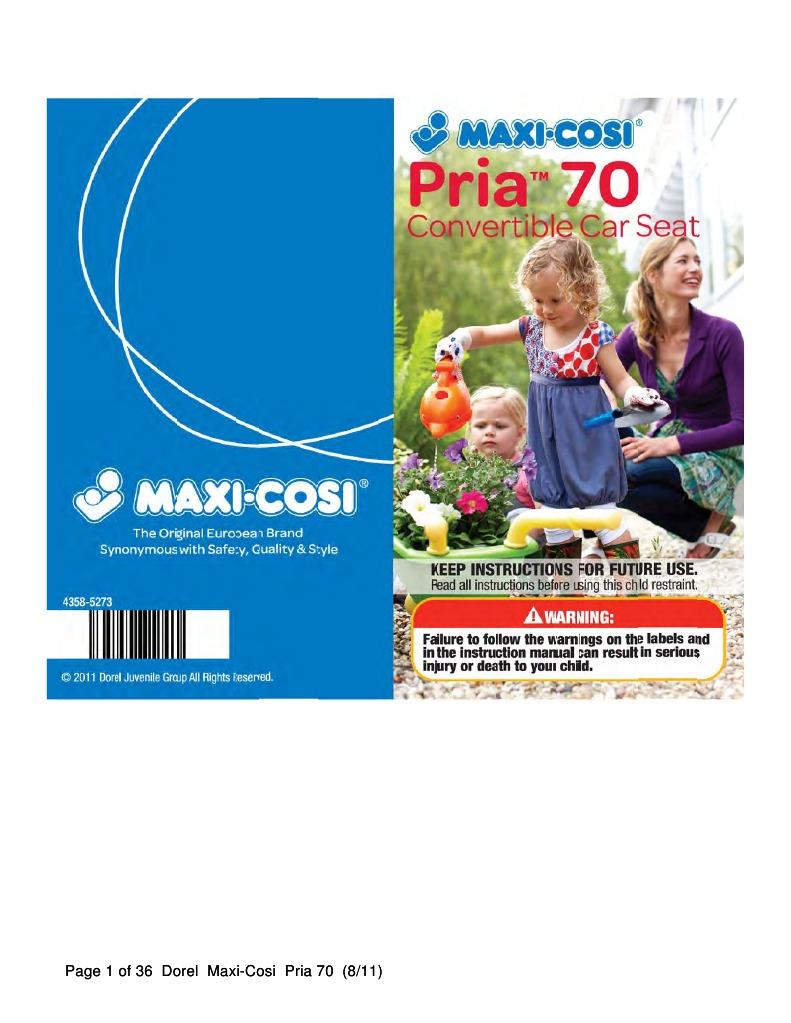 Maxi-Cosi Pria 70 Instruction Manual
