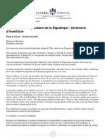 Discours d'investiture de François Hollande
