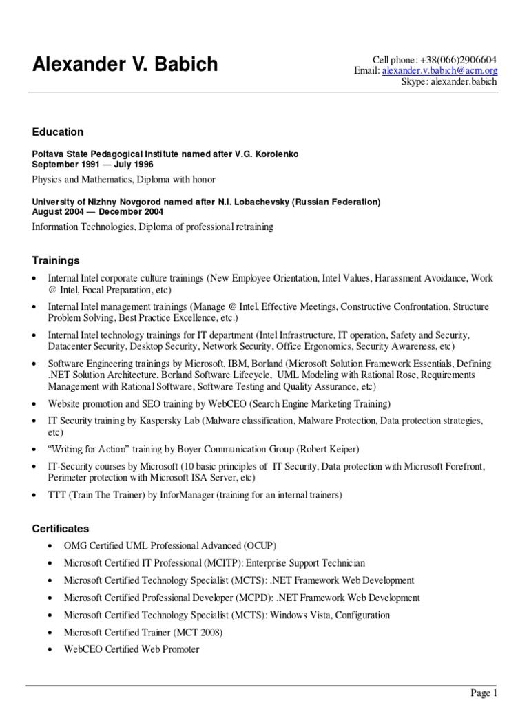 My Updated Cv English Share Point Microsoft Office