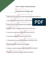 X-Word Grammar Lesson Three Predicates Ex1 Answers