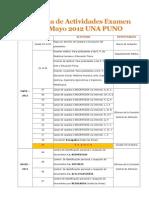 Cronograma de Actividades Examen General Mayo 2012 UNA PUNO