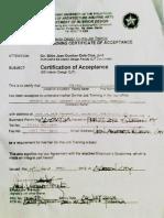 Certificate of Acceptance - Architecture