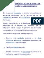 DE LOS PROCEDIMIENTOS DISCIPLINARIOS Y DE LA INSTRUCCIÓN DE LOS EXPEDIENTES... NORMATIVA LEGAL