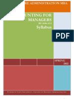 BU 5190-AU2 - Accounting for Managers - Syllabus