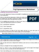 Simplifying Trig Expressions Worksheet