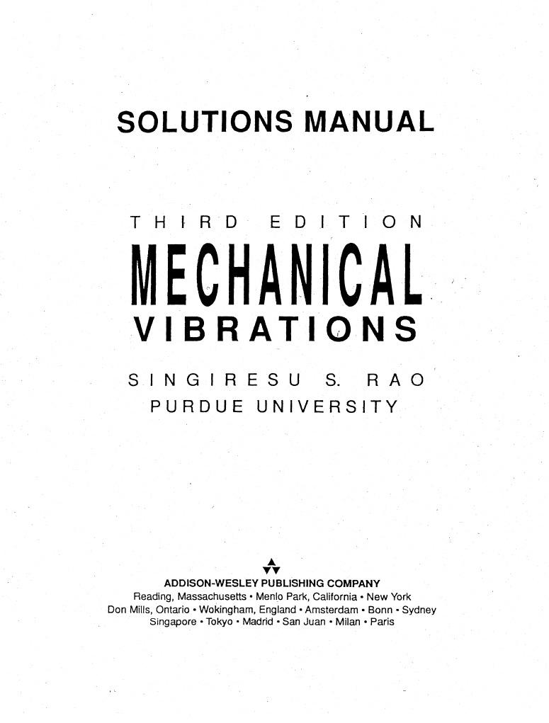 Mnl 1669 Mechanical Vibrations 3rd Edition Manual Rao 2019 Ebook