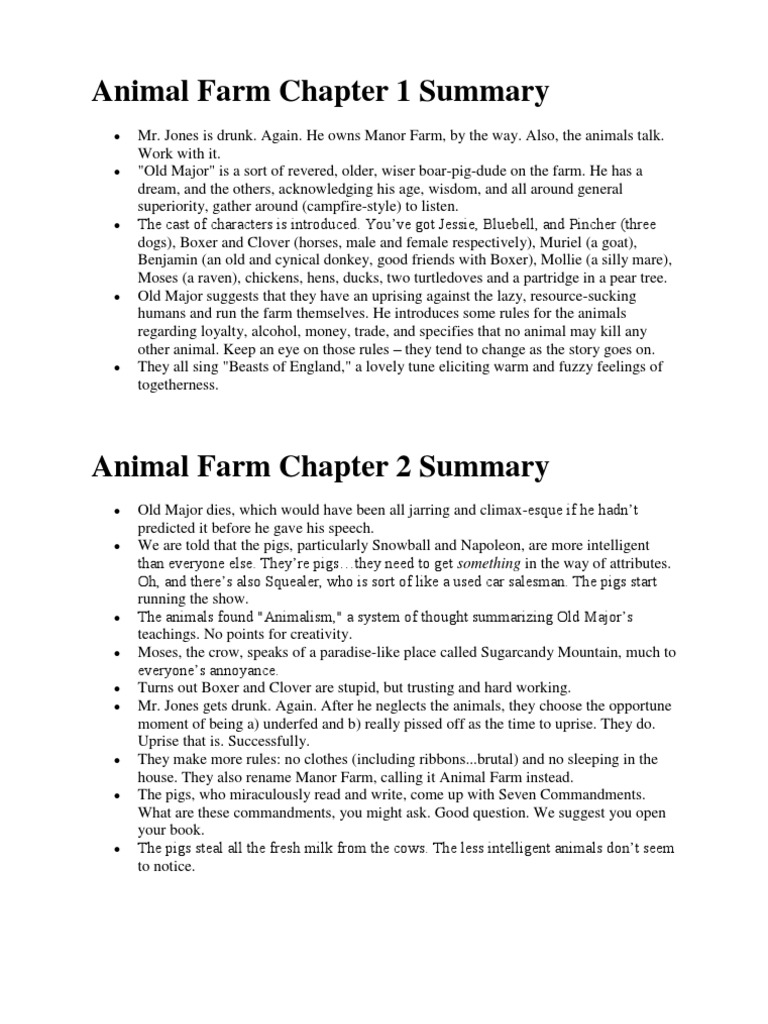 Animal Farm Chapter 1 10 Summary