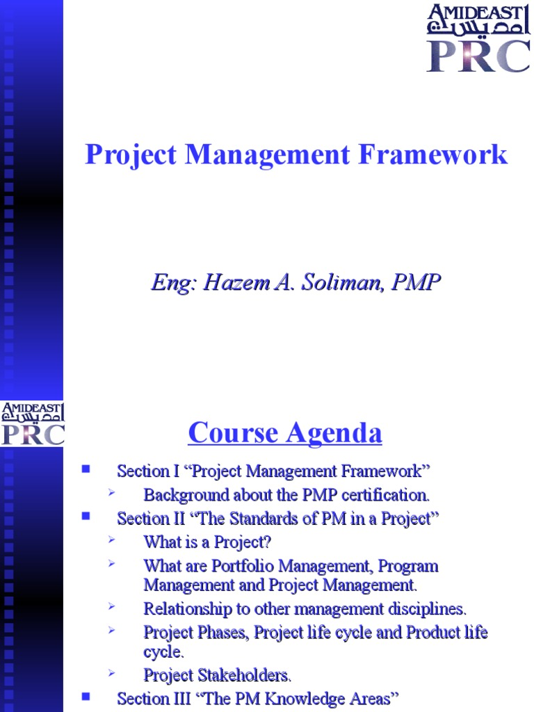 Project Management Framework Project Management Science And