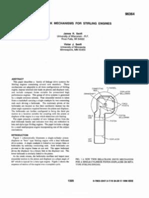 Bellcrank Mechanisms for Stirling Engines   Piston