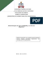 Determinação do teor de Mg(OH)2 no leite de Magnésia