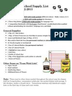 Supply List 2012-2013