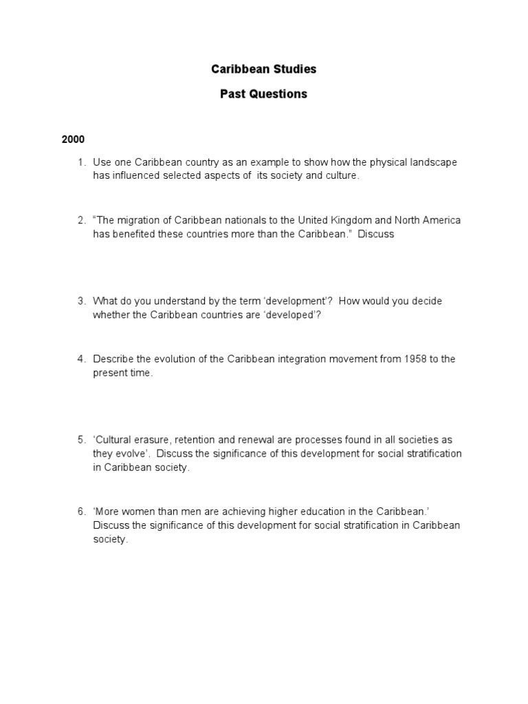 cape caribbean studies essays Caribbean examinations councilreport on candidates' work in the caribbean advanced proficiency examination may/june 2003 caribbea documents similar to cape 2003 caribbean studies skip carousel.