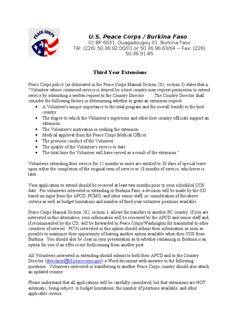 peace corps third year extension application peace corps volunteering