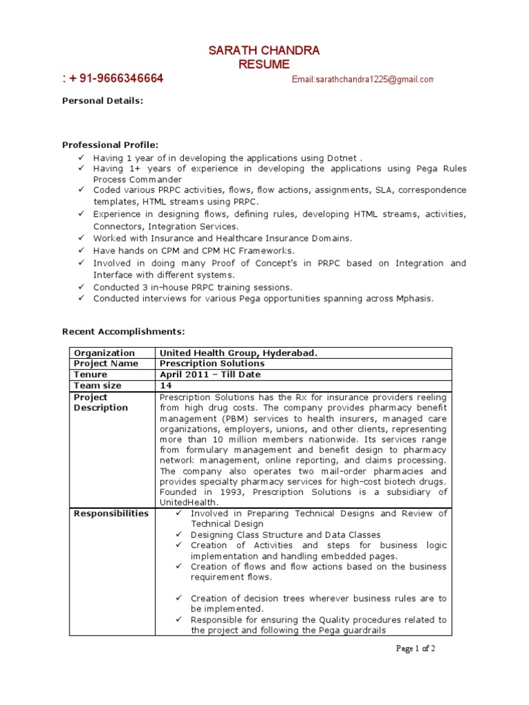 Sarath Pega Rules Process 1 Years Experience Resume | Java Script ...