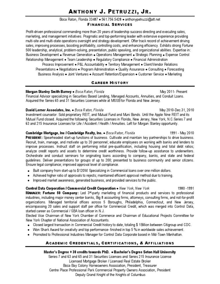 Financial Advisor Banking Lending in Palm Beach FL Resume