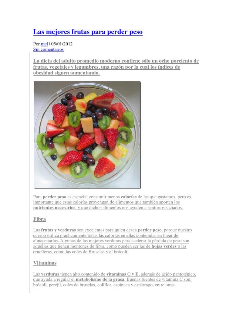 la dieta de frutas ayuda a perder peso