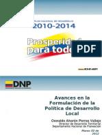 Avances en la Formulación de la Política de Desarrollo Local