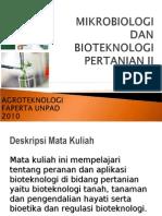 Pendahuluan Mikrobiologi Dan Bioteknologi Pertanian II