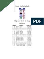 Italia Viteze Si Taxe Autostrazi