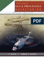 M.P Black Kohser DeGarmo's Materials Processes Manufacturing 10th