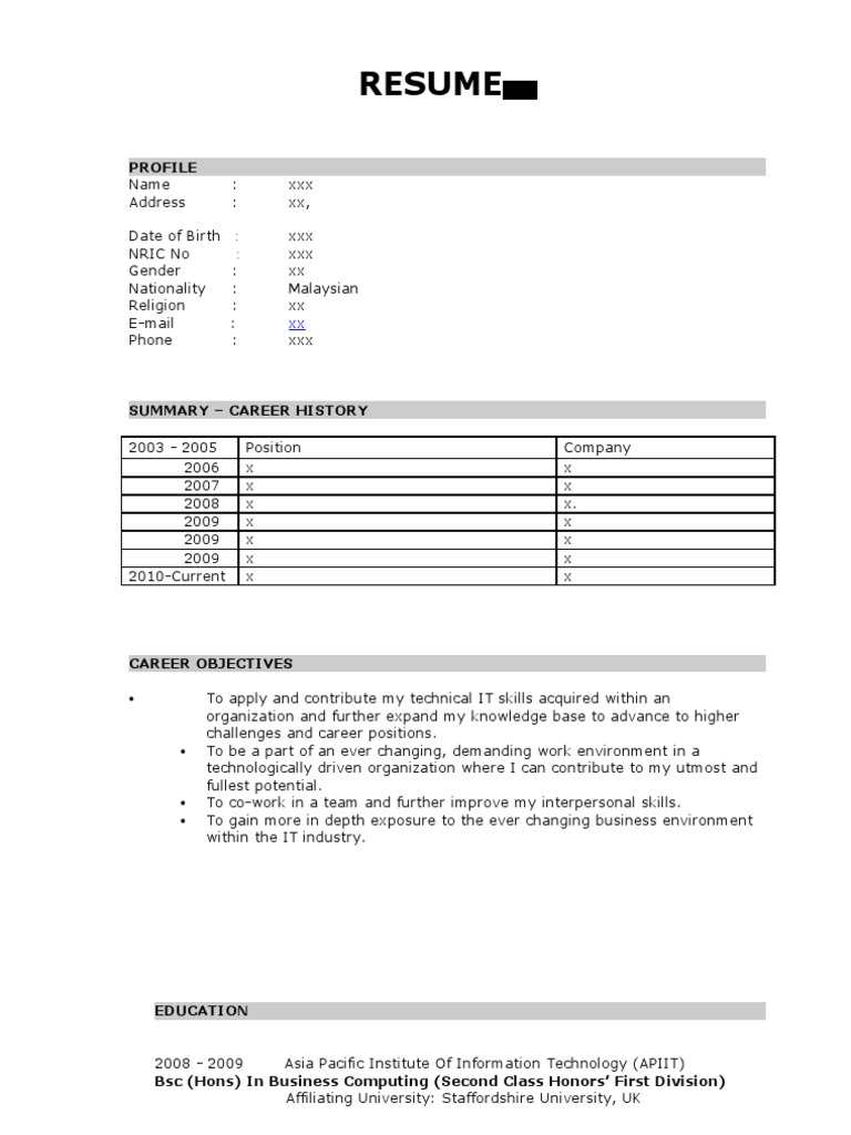 Sample Resume Technical Support Computer Network