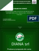 Fundamentarea politicii de produs şi de distribuţie la SC Diana SRL Râmnicu Vâlcea.CCI
