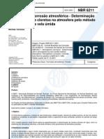 NBR 06211 - 2001- Corrosão Atmosférica - Determinação de Cloretos na Atmosfera pelo Método da Vela Úmida