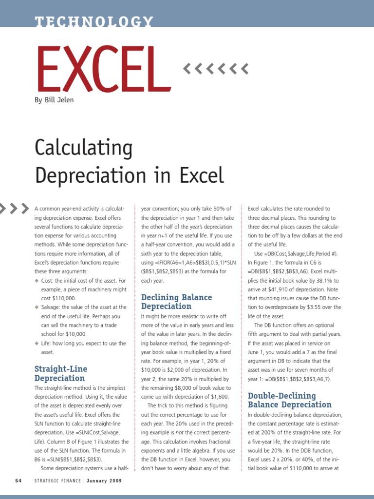 calculating depreciation on excel 01 2009 excel depreciation
