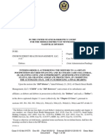 Doc 60-Order Granting Church Street Health Management's Motion for Financing and Conduct Business