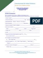 Formulario de Admision Instituto  de Salud Holistica FA-100