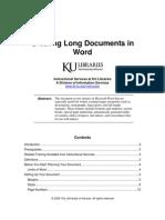 Creating Long Documents in Word (KansasU)