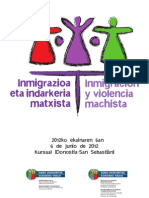 Programa Jornada Inmigración y Violencia Machista en País Vasco 06/05/12