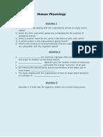 Human Physiology Worksheet
