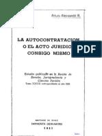 La Autocontratacion Consigo Mismo - Arturo Alessandri r