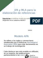 Modelos APA y MLA para la elaboración de