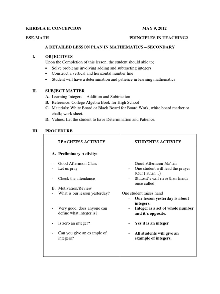 A Detailed Lesson Plan in Mathematics Subtraction – Integer Addition and Subtraction Worksheet