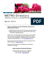 METRO Member Directory and Delivery Roster - Spring 2012
