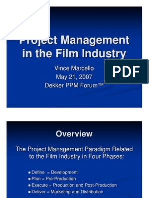 Project Management in the Film Industry | Screenplay