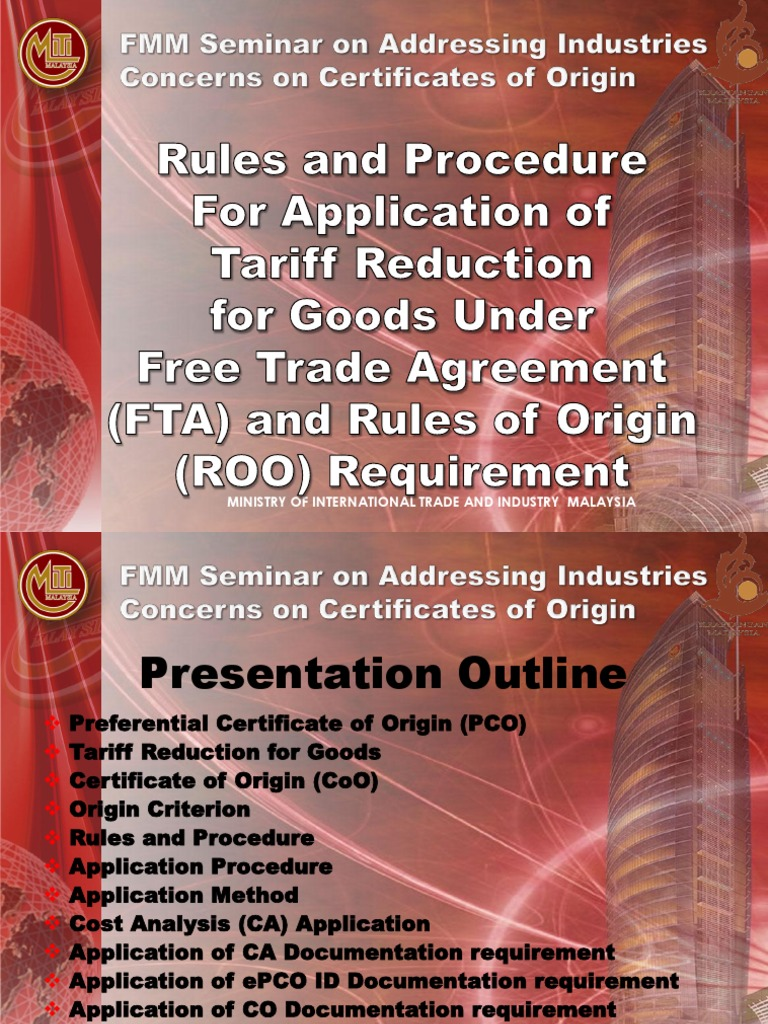 MITI - FMM Rules and Procedure for FTA (Awana Genting, 19 Mei 2012) | International Trade | World Economy