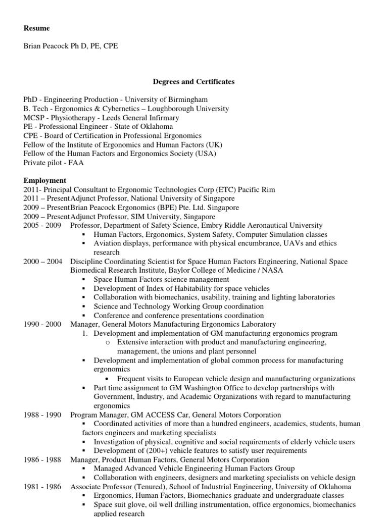 Brian Peacock Human Factors And Ergonomics Engineer